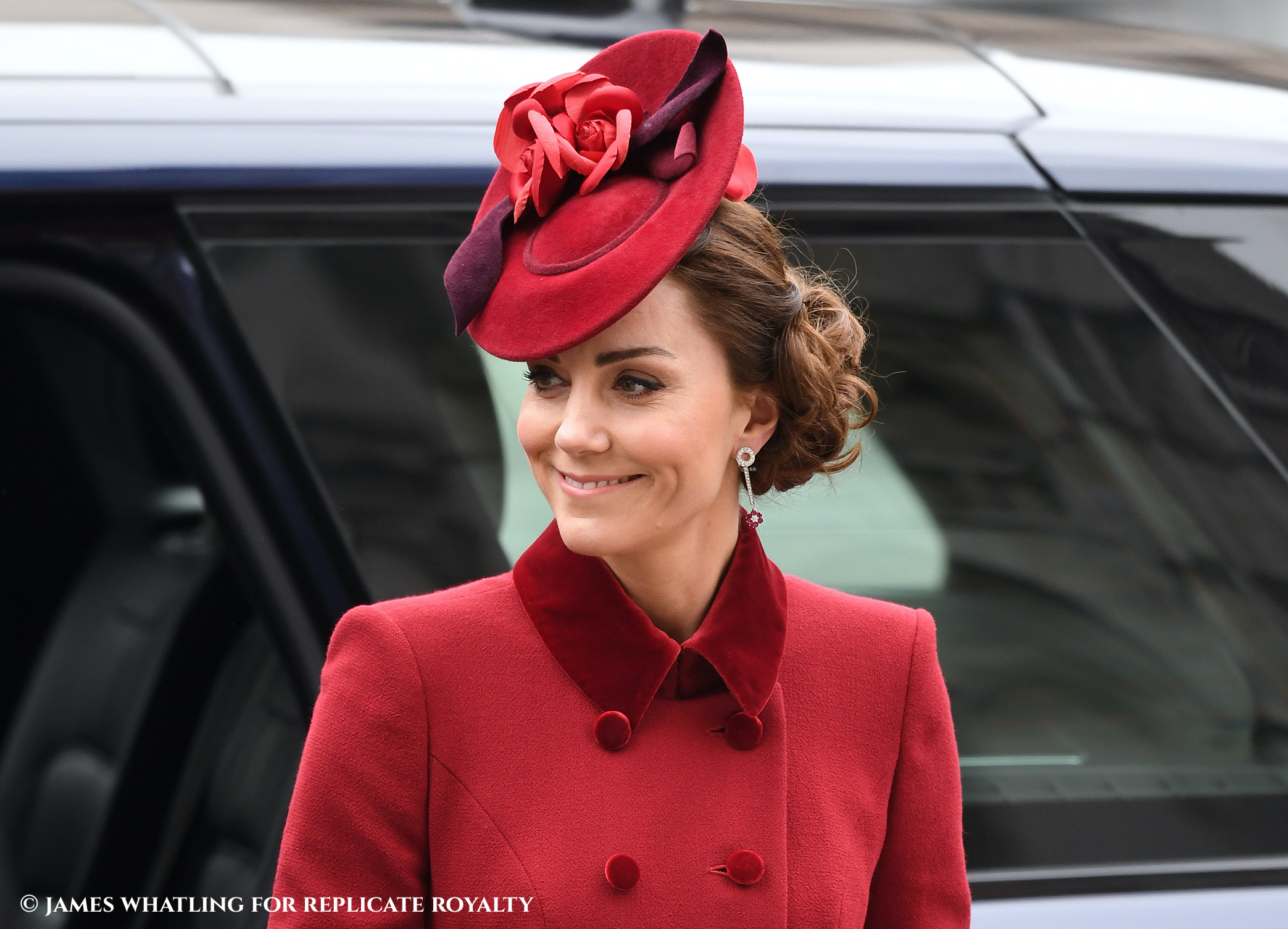 The Duchess of Cambridge wears a Sally Ann Provan hat to attend the annual Commonwealth Day Service